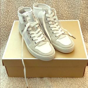 MK brand new white mesh sneakers. Silver hardware!